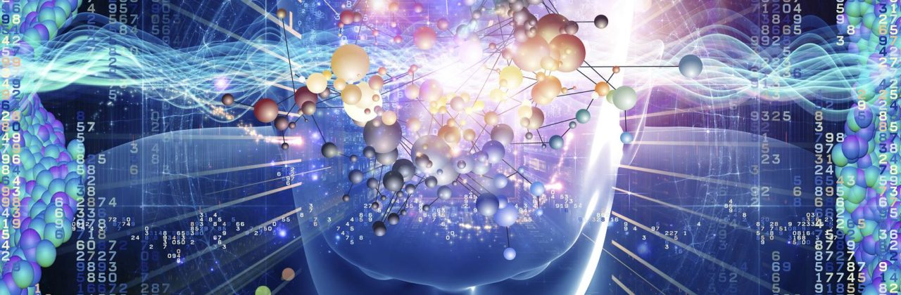 Collage of human head, molecules and various abstract elements on the subject of modern science, chemistry, physics, human and artificial minds